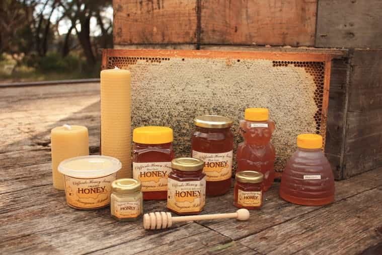 Honey in jars and as candle, a product image